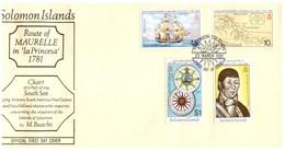 (P 15) Solomon Island (1981) FDC Cover / Premier Jour - Maurelle Route (2 Covers) - Salomoninseln (Salomonen 1978-...)