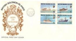 (P 15) British Solomon Island (1975) FDC Cover / Premier Jour - Ships & Navigators - Salomoninseln (Salomonen 1978-...)