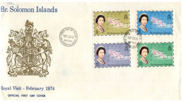 (P 15) British Solomon Island (1974) FDC Cover / Premier Jour - Royal Visit - Salomoninseln (Salomonen 1978-...)