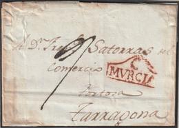 1809-CARTA-PREFILATELIA. CARTAGENA A TARRAGONA. Marca C / MURCIA - ...-1850 Prefilatelia