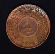 PARAGUAY KM 4.1, VF+, 4c, 1870 . (5BP61) - Paraguay