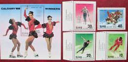Korea North  1988  Olympic Games   Calgary   S/S +4 V  MNH - Winter 1988: Calgary