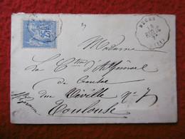 CACHET NUCES SUR TYPE SAGE 25 C LETTRE VIA TOULOUSE - 1877-1920: Période Semi Moderne