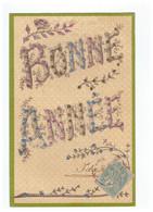Cpa Carte Fantaisie Fete Bonne Année Cachet 1906 Carte Rehaussée De Paillettes - Anno Nuovo