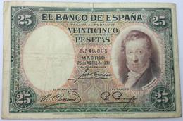 Billete 1931. 25 Pesetas. República Española. España. SS. Sin Serie. Vicente López. MBC - [ 2] 1931-1936 : Repubblica