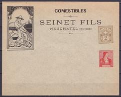 """Suisse - EP Enveloppe """"Comestibles Sein Et Fils Neufchâtel"""" 2c (N°58) + 10c (N°116) Neuve - Thème Pêche Poisson - Postwaardestukken"""