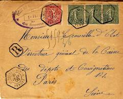 1906-DEVANT D'enveloppe RECC.  Affr. à 55 C Oblit. R A U  Type D2  De LA ROCHE S/YON-A / VENDEE - Storia Postale