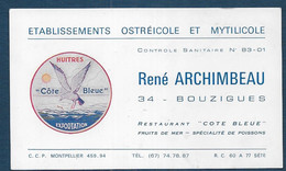 Carte René ARCHIMBEAU   34 Bouzigues - Visiting Cards