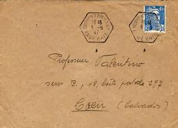 1947- Enveloppe Affr. à 4,50 F. Oblit. R A R Type E 4  De ROPPENTZWILLER / HAUT RHIN - Poststempel (Briefe)