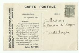N°81 - 1c. Gris Preo VERVIERS (OUEST) 08 Sur CP (maison MATHIEU Marbrerie Cheminées) Vers Destelbergen - 16127 - Prematasellados