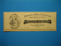 (1949) Poissons De Mer & Coquillages, Salaisons En Gros  - Établissements TH. WILLERS - Rue Levillain à Boulogne-sur-Mer - Werbung