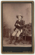 CDV Photo Foto Um 1885 - W. Feller, Strassburg I/E, Junger Mann, Fernglas, Wanderer/Naturforscher? - Old (before 1900)