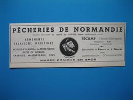 (1949) Marée Fraîche En Gros - Pêcheries De NORMANDIE - Fécamp - Werbung