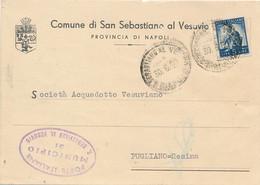 1950 SAN SEBASTIANO AL VESUVIO CARTOLINA CON CARTIGLIO ARALDICO - 1946-60: Marcophilia