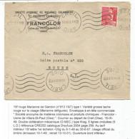 GANDON 15FR ROUGE VARIETE GROSSE TACHE LETTRE CREIL OISE 16.IX.1949 OISE - 1945-54 Marianne De Gandon