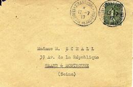 1919- Enveloppe Affr. 15 C Semeuse Oblit. STRASBOURG * KERMESSE ALSACIENNE * - Storia Postale