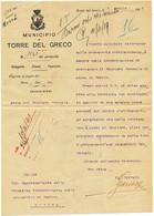 1919 TORRE DEL GRECO  LETTERA INTESTATA CON CARTIGLIO ARALDICO E FIRMA SINDACO - Marcophilia