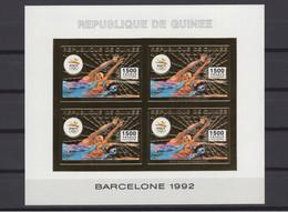 GUINEA 1992. Mi #1376 B, CV €100, Imperf, Golden Foil, Sheetlet, Olympics - Estate 1992: Barcellona