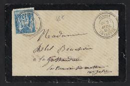 Cachet Perlé Type 25 TUSSON( Charente)1893,Aff 15c Annulé Par Cachet à Date,très Beau Cachet,format Carte De Visite - Storia Postale