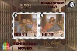 Finland - Peterspost - 2020 - Leonardo Da Vinci - Milanofil Exhibition MOVED - Souvenir Sheet With Overprint - Paketmarken