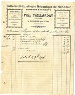 47  VARES A MONDESIR  -  TUILLERIE BRIQUETTERIE PLATRES & CIMENTS   FELIX TAILLARDAT    -   FACTURE 1906 - Frankreich