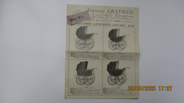 PUBLICITES Fernand GRATIEUX / VOITURES D'ENFANTS, ALUMINIUM, SIRIUS / 1922 Billancourt - Seine - Werbung