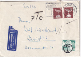 BERLIN 1960 PLI AERIEN TAXE A ZURICH - Storia Postale