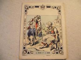 Protège Cahier, Fin XIX,  FABLE De FLORIAN, La BREBIS ET LE CHIEN - Protège-cahiers