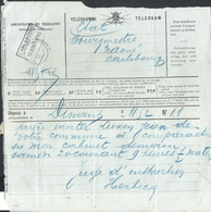 Télégramme De Dinant Pour Naomé Rectang CARLSBOURG/1910 - Telegraph