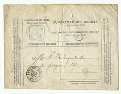 Enveloppe OUVERTURE DES REBUTS (modèle N°295 Bon N°546-1895) Obl. Sc POSTES REBUTS BELGIQUE 19 Mars 1897 Et BRUXELLES DE - Otros
