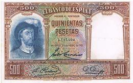 ESPAGNE  500 PESETAS    AVRIL 1931        BI12 - [ 1] …-1931 : Prime Banconote (Banco De España)