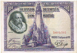 ESPAGNE  100 PESETAS    AOUT 1928       BI14 - [ 1] …-1931 : Prime Banconote (Banco De España)