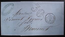 Bordeaux 1860 Edouard Laclaverie Lettre Taxée 30 , Cachet Convoyeur Bordeaux à Paris C - Postage Due Covers