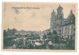 BL 38 - 15354 GRODNO, Market & Church, Belarus - Old Postcard, CENSOR - Used - 1917 - Belarus