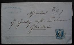 Jarnages (Creuse) 1867 G.C 1863 P.L. Maumy Vins Et Eaux De Vie, Lettre Pour Libourne - 1849-1876: Période Classique