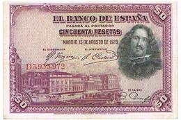 ESPAGNE  50 PESETAS    AOUT 1928      BI16 - [ 1] …-1931 : Prime Banconote (Banco De España)