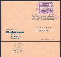 ZKD B6(2) Radeberg HO Industriewaren Verwaltungspost 1956 Senkrechtes Paar, Zentraler Kurierdienst Der DDR - Service
