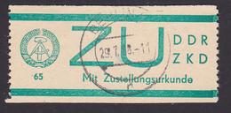 Germany East DDR ZKD E1 Zustellungsurkunde Gestempelt Used - Service