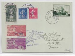 1938 - VIGNETTES CLUB MERMOZ MEETING D'AVIATION LA BAULE Sur CARTE De BRUXELLES (BELGIQUE) => BELLE ILE - Aviation