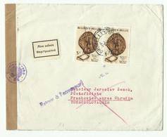 2x3Fr. Journée Du TImbre 1961 Obl. Dc BRUXELLES 1 Sur Lettre Du 5-6-1961 Vers La Tchecoslovaquie + Bande Et Griffe De Ce - Brieven En Documenten