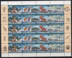 Cocos Islands (01) 1987 Sailing Craft Set. Sheet Of 20. Mint. Hinged - Cocos (Keeling) Islands