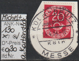 "1951 - BRD - FM/DM ""Ziffer Mit Posthorn""  20 Pf. Karminrot Auf Kartenstück  (130o AKs    Brd) - Oblitérés"