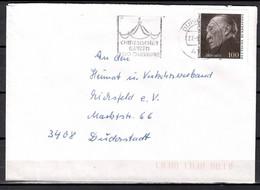 BRD; MiNr. 1601, 25. Todestag Von Konrad Adenauer, Auf Portoger. Brief Von Duisburg Nach Duderstadt; B-1561 - [7] Federal Republic