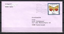 BRD; MiNr. 1602, Jugend: Gefährdete Nachtfalter, Auf Portoger. Drucksache Von Bonn Nach Duderstadt; E-70 - [7] Federal Republic