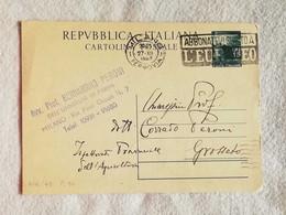 Cartolina Postale L.15 Da Milano Per Grosseto 1949 - 6. 1946-.. Repubblica