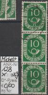"""1951/52 - BRD - FM/DM """"Ziffer M. Posthorn"""" 3x  10 Pf. Dunkelgrün - Senkr. Streifen  (128o X3   Brd) - Oblitérés"""