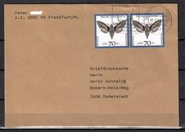BRD; MiNr. 1603 (2x), Jugend: Gefährdete Nachtfalter, Auf Portoger. Briefdrucksache Von Frankfurt Nach Duderstadt; C-114 - [7] Federal Republic