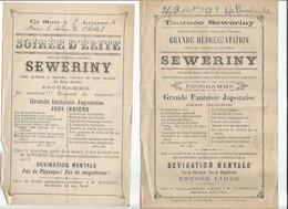 RARE DEUX PROGRAMMES LA BOURBOULE 1896 SEWERINY CIRQUE EQUILIBRISTE / DIVINATION MENTALE / - Programs