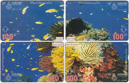 THAILAND H-482 Hologram TOT - Animal, Sea Life, Corals, Fishes - 4 Pieces - Used - Thailand