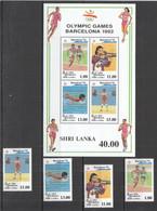 VV483 SRI LANKA OLYMPIC GAMES BARCELONA 1992 #1001-05 BL49 MICHEL 18,5 EURO MNH - Summer 1992: Barcelona